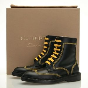 Burberry Bert Black & Yellow Leather Boots 5.5 B